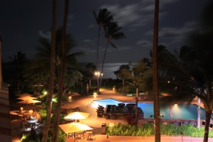 Pool of the Courtyard Kauai in the full moon
