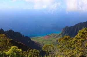 The coast at the top of the Waimea Canyon