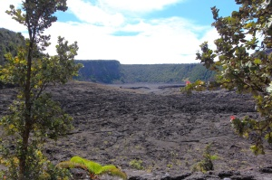 Lava lake from the crater rim