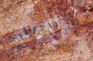Hand print rock art